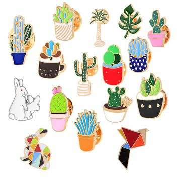 Cartoon Rabbit Bird Badge Pin Metal Button Mini Plant Potted Cactus Brooches Women's Denim Jackets Collar Enamel Pins Brooch Hot