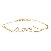 "0.12ct 14k Yellow Gold Diamond ""Love"" Bracelet"