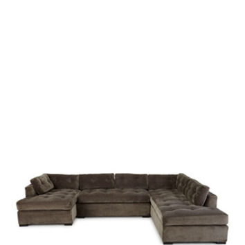 Old Hickory Tannery McLain Gray 3-Piece Sectional & Armless Sofa