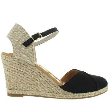 Me Too Brenna - Black Nubuck Espadrille Wedge Sandal