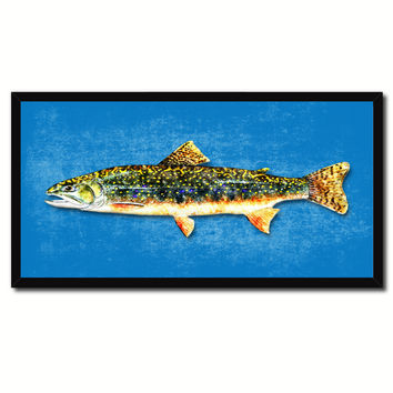 Brook Trout Fish Art Blue Canvas Print Picture Frames Home Decor Nautical Fisherman Gifts