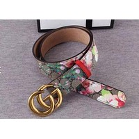 GUCCI Popular Woman Men Flower Print Smooth Buckle Belt Leather Belt+Best Gift I