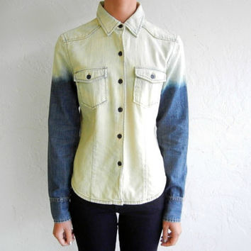 $83.99 Faded Ombre Denim Shirt by rerunvintage on Etsy