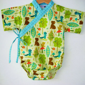 Baby Kimono One piece / IN THE FOREST / sizes 0 through 24 months - baby boy outfit boy easter clothes