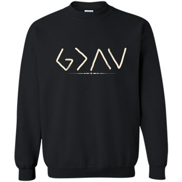 God is Greater Than the Highs and Lows  Printed Crewneck Pullover Sweatshirt