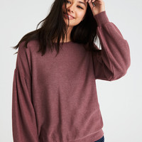 AE TEXTURED BALLOON SLEEVE SWEATER, Burgundy
