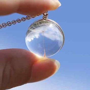 Crystal Ball Real Dandelion Seed Wishing Wish Necklace Long Silver Chain