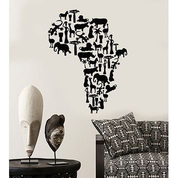 Vinyl Wall Decal Africa Continent Animals Map Nature Stickers (3442ig)