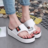 Shoes Rhinestone Thick Crust Summer Korean Casual High Heel Slippers [11884974611]