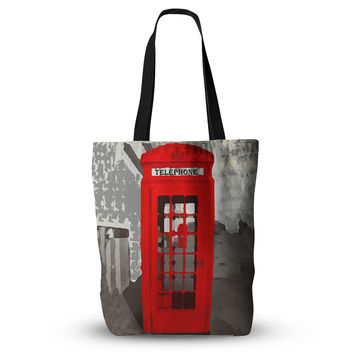 "Oriana Cordero ""London"" Red Gray Everything Tote Bag"
