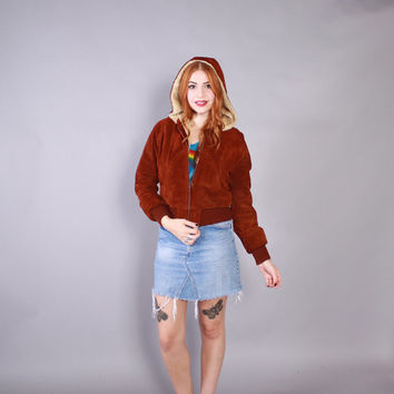 70s LEATHER Jacket / Vintage 1970s Russet Brown Suede Cropped Coat with faux Fur Lining & Hood xs - s