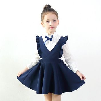 Spring Autumn Girls Clothes 2017 Fashion Vest Girls Dress Baby Girls School Princess Dress vestido 3-11 years Kids Costume DQ531