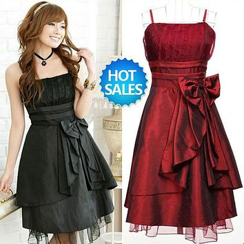 Free shipping women's sexy night club cocktail party pinafore Chiffon halter Dress Color Red Rose Green Black Purple WTS031