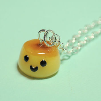 Kawaii Flan Charm Necklace Polymer Clay