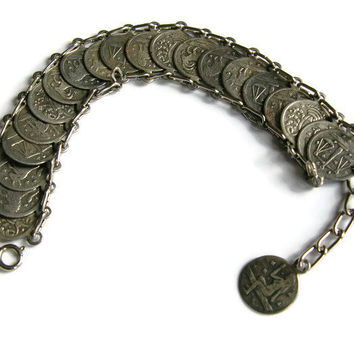 Rare original vintage zodiac astrological star birth signs silver coins bracelet with a charm from 1940s