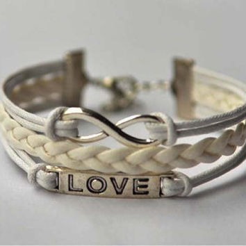 Infinite love charm bracelet, white wax rope leather bracelet, the best friendship gift for girls and boys