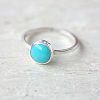 Turquoise Ring Sleeping Beauty Turquoise Ring Sterling Silver Stacking Ring Stacker Silversmithed Metalsmithed