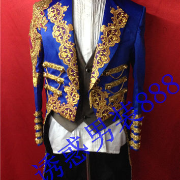 new man suit blazer Magic royal laciness tuxedo male married formal dress for singer dancer star performance show in stage bar