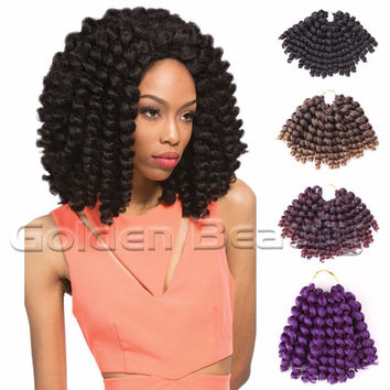 8-10 inch  Wand Curl Crochet hair extensions Ombre Havana mambo twist braiding hair Synthetic Crochet Braids hair extensions