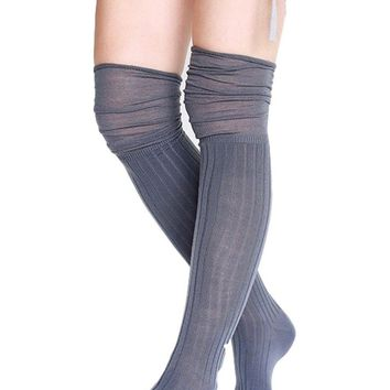 Slouch Top Boot Socks, Grey