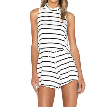 The Fifth Label Jupiter Sunshine Playsuit in White & Black