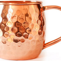 Authentic Moscow Mule Copper Mug by Kick Ass Mule Co. | The Perfect Wedding Gift | Hand-Made 100% Copper |16 oz Barrel Design | Hammered Finish | No Lining or Plating | Rated 5 Stars