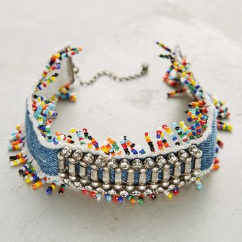 Birdie Beaded Denim Choker