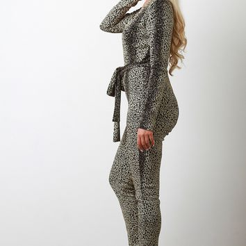 Metallic Tinsel Cheetah Deep V-Neck Jumpsuit