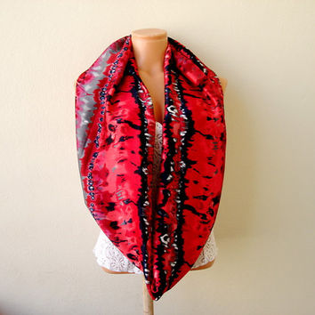 Red and black infinity scarf,batic painted, silky satin,  tube circle, multicolored soft scarf