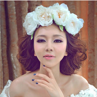 High Quality Bride Accessory Lotus Flowers Hair Bridal Wedding Flower Garland Headbands Crowns Elastic headband