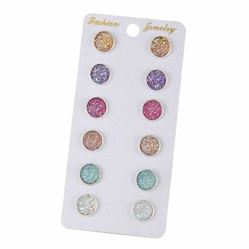 Earring Sets 6 Pairs / Set Mixed Color Cute Round Stud Earrings For Women
