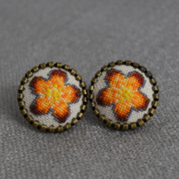 Embroidered Flower Earrings Handmade Embroidered Jewelry Embroidered Yellow Flower Cross Stitch Earrings