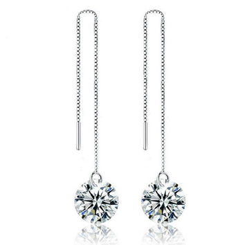 Summer crystal ball long dangle earrings for women silver plated threader hanging earring front back chain earring party jewelry