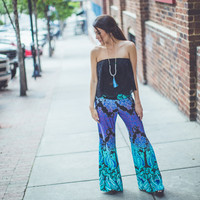 Damask Ombre Palazzo Pants in Aqua