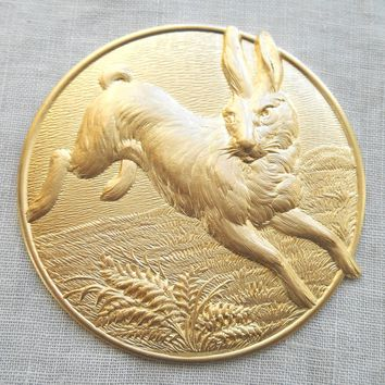 One large bunny rabbit raw brass stamping, Victorian medallion, pendant, charm, connector, 51mm in diameter, made in the USA, C14101