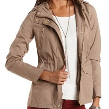 Lightweight Hooded Anorak Jacket by from Charlotte Russe