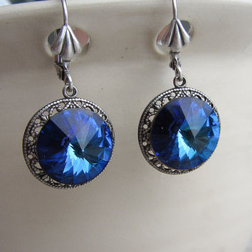 Bermuda Blue Art Deco Earrings, Swarovski Crystal Earrings, Ocean Blue, art deco, drop