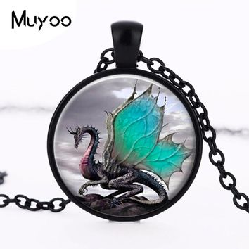 2016 blue dragon necklace long glass dome hand of jewelry art photo necklace charm wing fantasy dragon jewelry