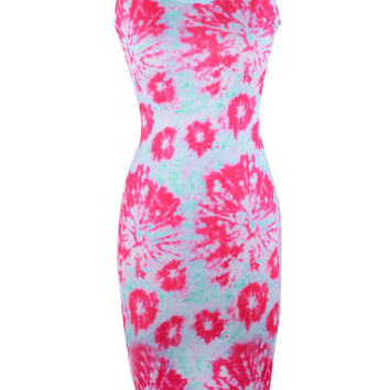 Red Floral Stain Print Sleeveless Midi Bodycon Dress