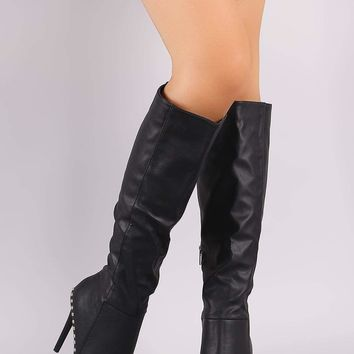 Wild Diva Lounge Beaded Trim Pointy Toe Knee High Stiletto Boots