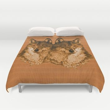 Season of the Wolf - Duet in Gold Duvet Cover by michael jon