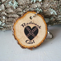 Rustic Keychain Redneck Girl Oak Wood Tree Wood Slice Key Ring