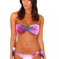 Missguided - Pieria Galaxy Print Bandeau Twisted Bikini