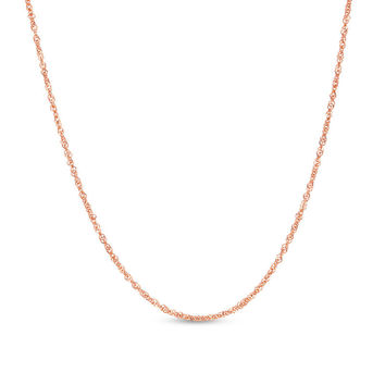 1.0mm Singapore Chain Necklace in 14K Rose Gold|Zales