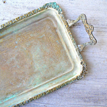 Ottoman Floral Rim Verdigris Patina Copper Tray, Rectangular Islamic Script Bronze Tray with handles, Collectible Middle East Decoration