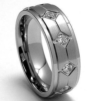 Men's Cubic Zirconia Solid Titanium Wedding Ring Band