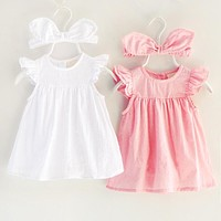 2017 New Summer Baby Girl Cotton Bodysuit Dress Large Ear Teania Infant Girls Lolita Casual Dresses Clothes Born 3m 6m 1t Gift