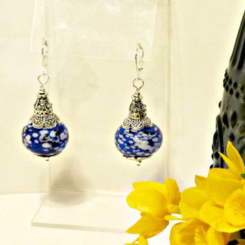 Cobalt Blue & White Blown Glass Earrings - Vintage Inspired with Modern Edge