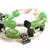 Multi Layer Beaded Bracelet, 3 Strand Butterfly Bracelet Jade and Black, Girly Boho Jewelry, Multi strand