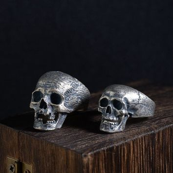 FNJ 925 Silver Skull Ring New Punk Skeleton S925 Sterling Thai Silver Rings for Men Jewelry USA Size 8-10.75